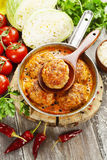 Vleeskoteletten met kool en rijst Royalty-vrije Stock Foto's