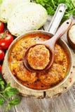 Vleeskoteletten met kool en rijst Royalty-vrije Stock Afbeelding