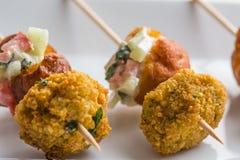 Vleespen vegetarische snacks en geslagen Stock Foto