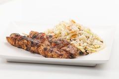 Vleespennen met rijst Royalty-vrije Stock Afbeeldingen