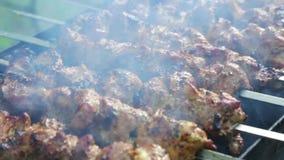 Vleespennen met rook bij dichte waaier stock footage