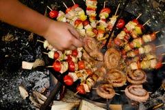 Vleespennen op barbecue Royalty-vrije Stock Fotografie