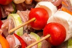 Vleespennen op Barbecue worden voorbereid die Royalty-vrije Stock Afbeelding