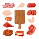 Vleesreeks, scherpe raad Beeldverhaal vlakke stijl Vector illustratie Stock Foto's