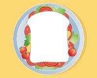 Vleessandwich met sla en tomaten Stock Foto's