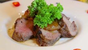 Vleesschotels van verschillende voorbereidingen Een verscheidenheid van vleesschotels in de culinaire arts. Hete en koude vleessc stock video