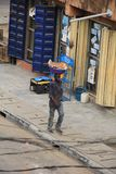 Vleesverkoper op de straat van Lagos Stock Fotografie