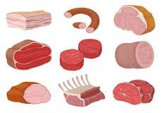 Vleeswaren en stukken van ruw vlees Vector illustratie royalty-vrije illustratie