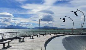 Vleetpark met vliegende beeldhouwwerken in de haven van Puerto Natales dichtbij Torres del Paine National Park, Patagonië Chili Stock Afbeelding