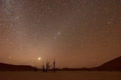Vlei inoperante, Namíbia no crepúsculo imagens de stock royalty free