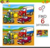Vlek de verschillen met auto's en voertuigen royalty-vrije illustratie