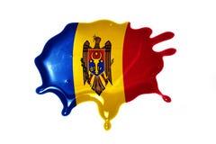 Vlek met nationale vlag van moldova stock fotografie