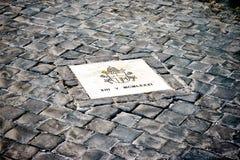Vlek op vierkant van St Peter in Rome waar de Paus Johannes Paulus II werd vermoord royalty-vrije stock afbeeldingen