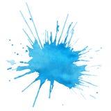Vlek van blauwe waterverf Stock Foto