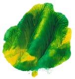 Vlek van het waterverf de groen-gele monotype Stock Fotografie