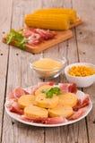 Vlekham en polenta royalty-vrije stock foto