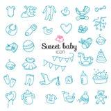 Vlekkeloze reeks | Hand getrokken Baby, Stuk speelgoed pictogramreeks Stock Fotografie