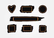 Vlekken van verf met kaders De slagen van de textuurborstel met vakjes voor tekst vector illustratie