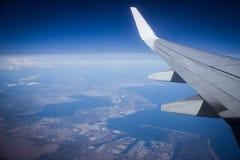 vleugel, mening van vliegtuig, Franse Riviera, CÃ'te d& x27; Azur Royalty-vrije Stock Afbeeldingen