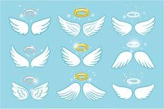 Vleugels en nimbus Van het de halo leuke beeldverhaal van de engelen gevleugelde glorie de tekeningen vectorillustratie stock illustratie