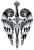 Vleugels en zwaard vector illustratie