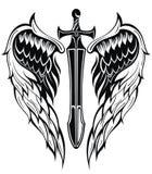 Vleugels en zwaard stock illustratie