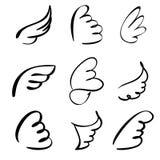 Vleugels geplaatst vectorillustratie Stock Afbeeldingen