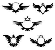 Vleugels gevormde emblemen Royalty-vrije Stock Foto's