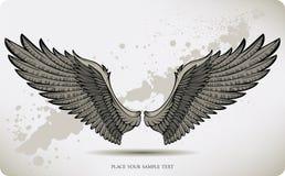 Vleugels, handtekening. Vector illustratie. Royalty-vrije Stock Afbeeldingen