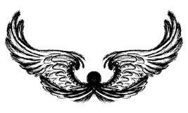 Vleugels op witte achtergrond, handtekening worden geïsoleerd die stock illustratie