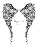 Vleugels van de Vetor de hand getrokken overladen engel, zentangle stijl vector illustratie