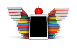 Vleugels van kennis tabletpc, kleurrijke boeken gestapelde stapels in t Stock Foto's