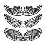 Vleugels voor wapenkunde, tatoegeringen, emblemen Royalty-vrije Stock Afbeeldingen