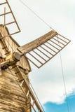 Vleugelsclose-up van houten bloemwindmolen Stock Foto