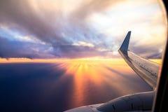 Vleugelvliegtuigen bij zonsondergang Stock Fotografie
