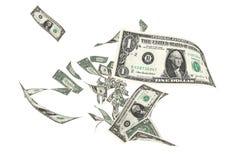 Vlieg Één dollarbankbiljetten royalty-vrije illustratie