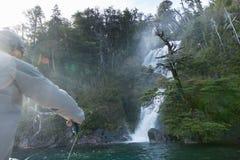 Vlieg die van boot in Argentinië vissen royalty-vrije stock foto