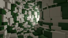 Vlieg door een eindeloze groene witte tunnel stock videobeelden