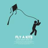 Vlieg een Vlieger Zwart Grafisch Symbool Royalty-vrije Stock Afbeeldingen