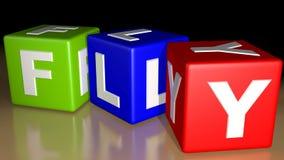 Vlieg gekleurde kubussen Stock Afbeelding