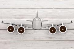 Vlieg in Nieuw Dagconcept Modern Vliegtuig met Koffiekoppen als Straal Royalty-vrije Stock Fotografie