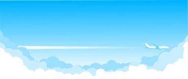 Vlieg over de blauwe hemel - lijnvliegtuig stock illustratie