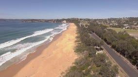 Vlieg over Eden-stranden, Australië stock videobeelden