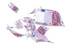 Vlieg Vijf honderd euro bankbiljetten vector illustratie