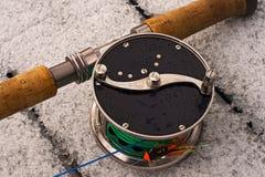 Vlieg-vissende van Classik spoel 1 royalty-vrije stock foto's