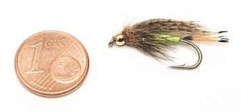 Vlieg visserij, aas, en één eurocent voor groottevergelijking Stock Foto's