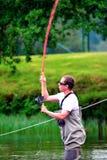 Vlieg visserij (het gieten) Royalty-vrije Stock Foto