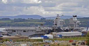 Vliegdekschip HMS Koningin Elizabeth royalty-vrije stock afbeelding