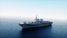 Vliegdekschip in overzees, oceaan met vechter Oorlog en wapenconcept het 3d teruggeven stock illustratie