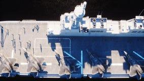 Vliegdekschip in overzees, oceaan met vechter Oorlog en wapenconcept het 3d teruggeven vector illustratie